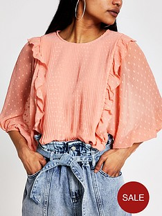 ri-petite-pleated-frill-detail-blouse-rust