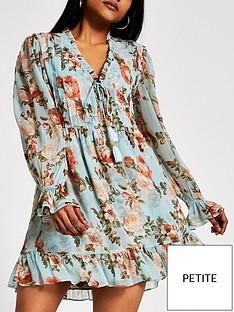 ri-petite-printed-mini-smock-dress-blue