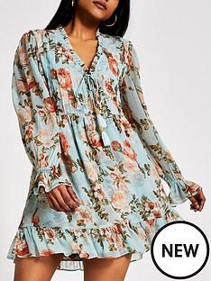 ri-petite-ri-petite-printed-mini-smock-dress-blue