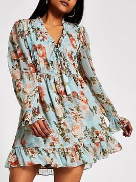 RI Petite Ri Petite Printed Mini Smock Dress - Blue Picture
