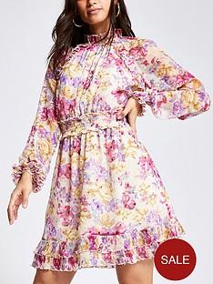 ri-petite-printed-waisted-frill-neck-mini-dress-pink