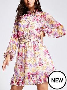 ri-petite-ri-petite-printed-waisted-frill-neck-mini-dress
