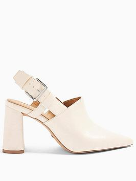 Topshop Topshop Fargo Block Heel Shoes - Cream Picture