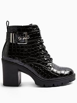 Topshop Topshop Broadway Lace Up Boots - Black Picture