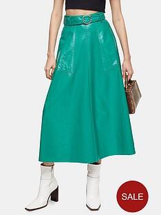 topshop-full-circle-vinyl-midi-skirt-green