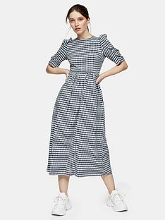 topshop-gingham-puff-sleeve-midi-dress-navy