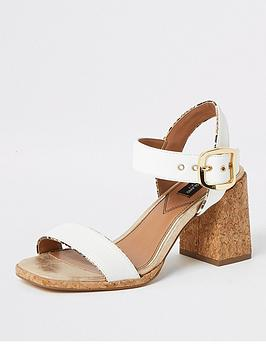 River Island River Island Wide Fit Mid Heel Two Part Sandal - Beige Picture