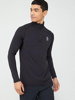 Gym King Gym King Sport Race 1/4 Zip Funnel Neck Top - Black Picture