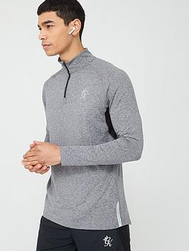 Gym King Gym King Sport Race 1/4 Zip Funnel Neck Top - Grey Marl Picture