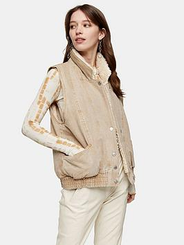 Topshop Topshop Faux Shearling Lined Gilet - Sand Picture