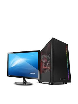 PC Specialist Pc Specialist Fusion S Pcs-D1615229 Amd Athlon 3000G, 8Gb Ram, 1Tb Hard Drive &Amp; 128Gb Ssd, Gaming Desktop With 24 Inch Samsung Monitor - Black