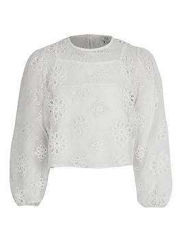 River Island River Island Girls Emboidered Long Sleeve Top - White Picture