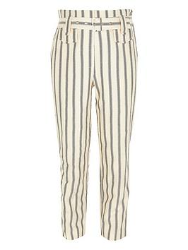 River Island River Island Girls Stripe Belted Trousers - Cream Picture