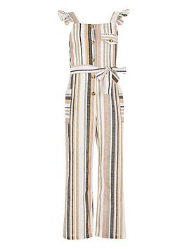 River Island River Island Girls Stripe Frill Jumpsuit - White Picture