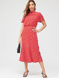 oasis-ditsy-heart-high-neck-midi-dress-rednbsp