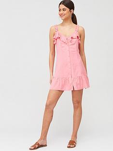 river-island-button-through-beach-mini-dress-pink