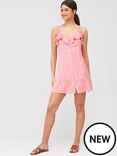 river-island-river-island-tie-front-button-beach-mini-dress-pink