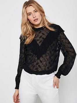 Mint Velvet Mint Velvet High Neck Embroidered Top - Black Picture