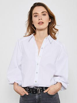 Mint Velvet Mint Velvet Puff Sleeve Cotton Shirt - White Picture