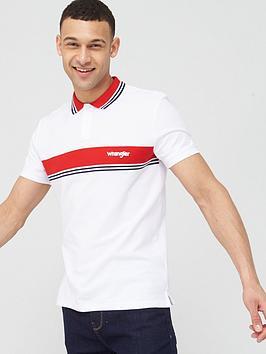 Wrangler Wrangler Colour Block Stripe Polo Shirt - White Picture