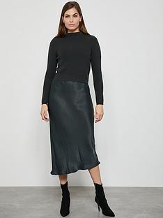 mint-velvet-woven-slip-knit-dress-khaki