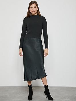 Mint Velvet Mint Velvet Woven Slip Knit Dress - Khaki Picture