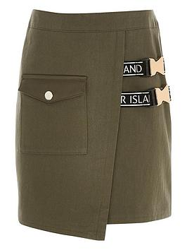 River Island  Girls Wrap Clip Buckle Skirt - Khaki