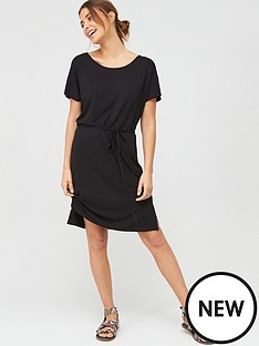 v-by-very-beach-short-sleeve-jersey-midi-dress-black