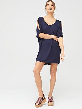 V by Very V By Very Beach Cold Shoulder Jersey Top - Navy Picture