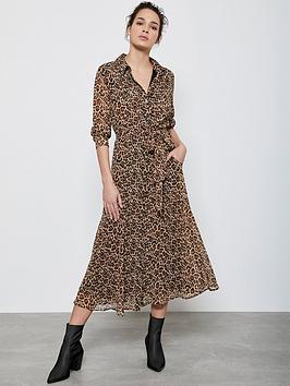 Mint Velvet Mint Velvet Isabel Animal Midi Shirt Dress - Neutral Picture