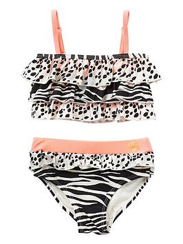 River Island Mini River Island Mini Girls Animal Print Bikini -Beige Picture