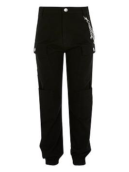 River Island River Island Girls Chain Cargo Trousers - Black Picture