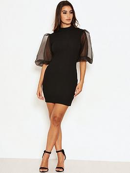 AX Paris Ax Paris Puff Sleeve Bodycon Dress - Black Picture