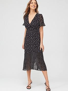 Oasis Oasis Lucy Mixed Spot Chiffon Midi Dress - Monochrome Picture
