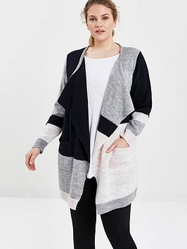 Evans Evans Colourblock Waterfall Cardigan - Grey Picture