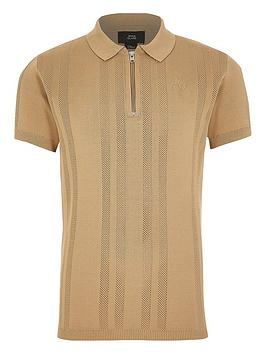 River Island River Island Boys Knitted Half Zip Polo - Beige Picture