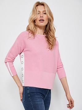Mint Velvet Mint Velvet Cotton Stitch Button Jumper - Pink Picture