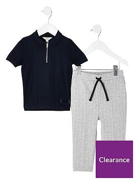 river-island-mini-boys-knitted-polo-shirt-amp-trouser-set-navy