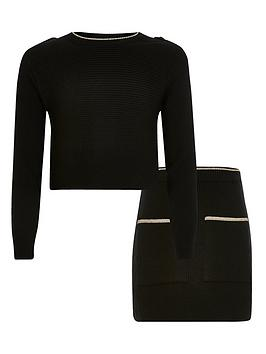 River Island Girls Ribbed Knitted Top &Amp; Skirt Set - Black