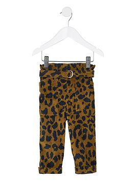 River Island Mini River Island Mini Girls Leopard Cord Paperbag Trousers -  ... Picture