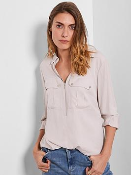 Mint Velvet Mint Velvet Utility Zip Front Shirt - Neutral Picture