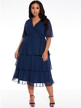 Quiz Curve Quiz Curve Chiffon Tiered Midi Dress - Navy Picture