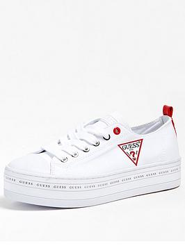 Guess Guess Brigs Platform Icon Logo Canvas Trainers - White Picture