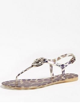 Guess Guess Jaxx Thong Leopard Print Sandals - Leopard Picture