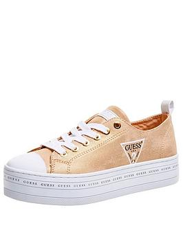 Guess Guess Brigs 5 All Over Logo Platform Canvas Trainers - Gold Picture