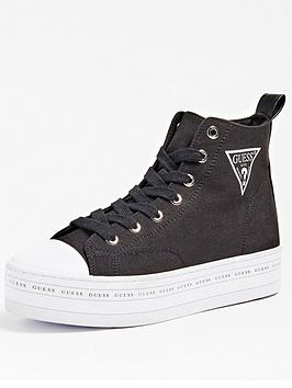 Guess Guess Bokan Icon Logo Platform High Top Canvas Trainers - Black Picture