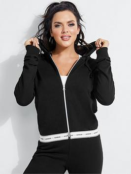 Guess Guess Logo Tape Zip Through Hoodie - Black Picture