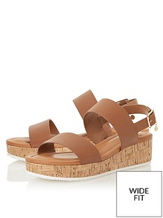 dune-london-lennie-wide-fit-wedge-sandal-tan