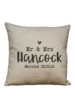 Very Personalised Wedding Cushion Picture