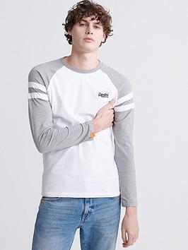 Superdry Superdry Orange Label Long Sleeved Softball Ringer T-Shirt - White Picture